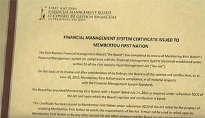 Membertou First Nation - FMS Certificate